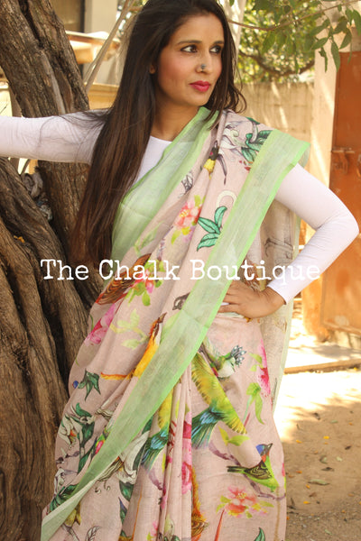 Light pink birdie digital print linen sari with pompoms. TCB-DIG2-LIN-C1-The Chalk Boutique