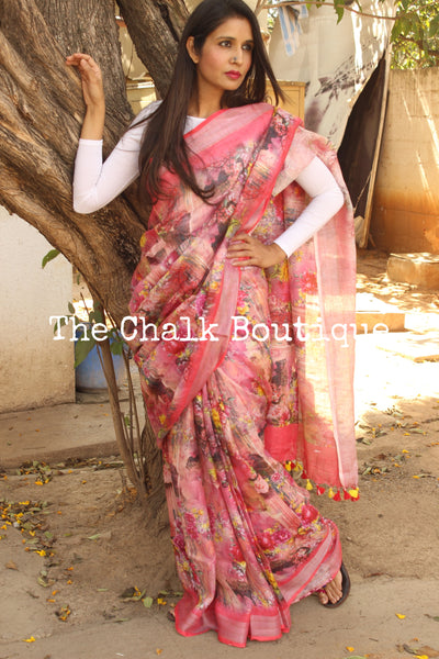 Bright pink floral digital print linen sari with pompoms. TCB-DIG4-LIN-C1