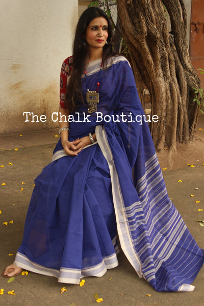 Blue 'Handloom mark' handwoven begumpuri saree with dobby naksha. TCB-DN7-BG1-The Chalk Boutique
