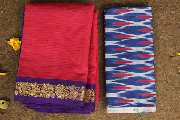 Pink Self Striped Gadwal cotton saree With zari Border TCB-GAD2-P19-The Chalk Boutique