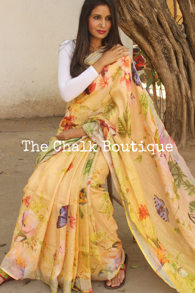 Light Yellow 'Butterfly Garden' digital print linen sari with pompoms. TCB-DIG5-LIN-C2