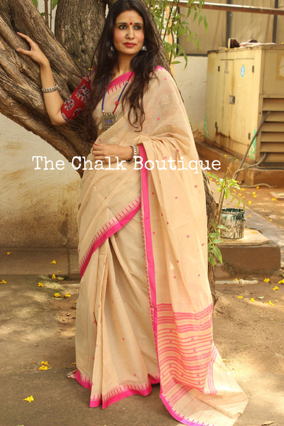 | Cappuccino |Beige 'Handloom mark' handwoven begumpuri saree with buti body . TCB-BB4-BG1-The Chalk Boutique