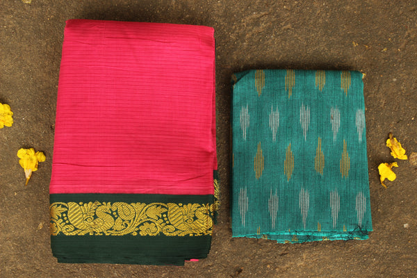 Pink Self Striped Gadwal cotton saree With zari Border TCB-GAD8-P19-The Chalk Boutique