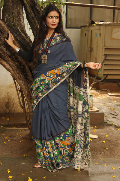 Steel Grey cotton kalamkari with contrast border.TCB-KAL4-P20