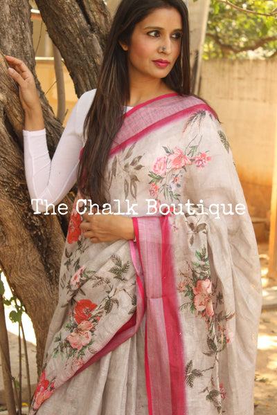 Grey floral digital print linen sari with pompoms. TCB-DIG6-LIN-C1
