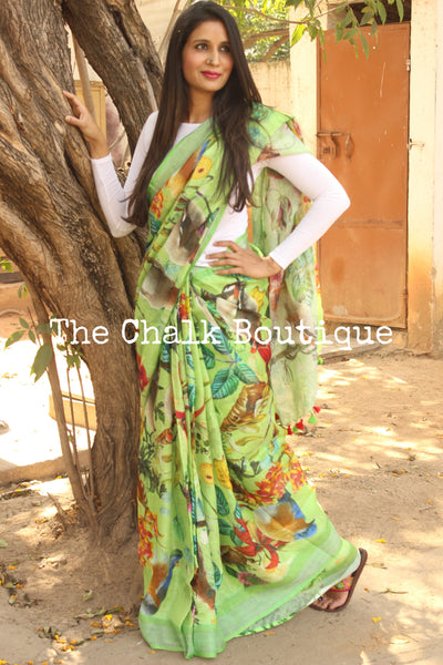 Green 'Birdies in a Garden' digital print linen sari with pompoms. TCB-DIG8-LIN-C1-The Chalk Boutique