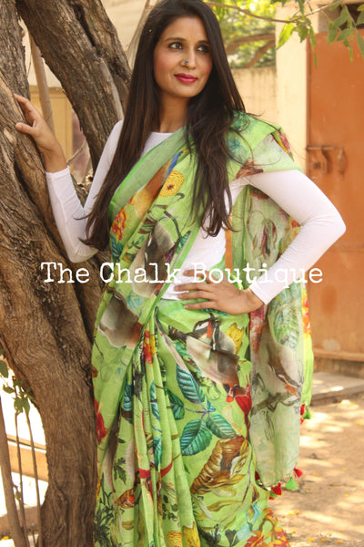 Green 'Birdies in a Garden' digital print linen sari with pompoms. TCB-DIG8-LIN-C1