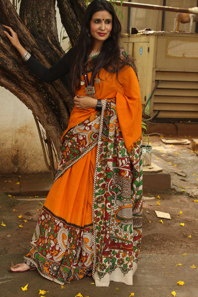 Mustard cotton kalamkari saree with contrast border.TCB-KAL7-P20