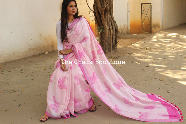 Pink butterfly digital print grey linen sari with pompoms. TCB-DIG1-LIN-C3
