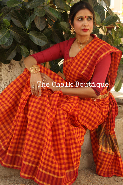 Orange Checked handloom cotton Saree with handloom mark. RK-CH7-C23