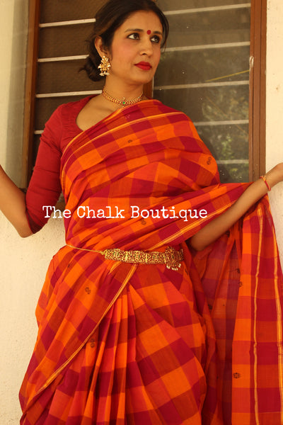 Orange big checked handloom cotton Saree with handloom mark. RK-CH2-C23