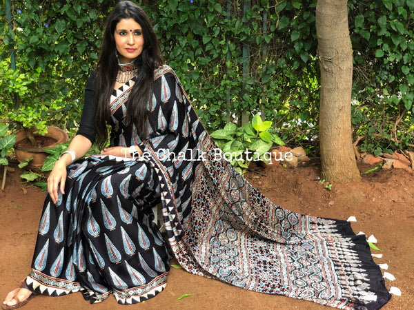 Black Modal silk vegetable dyed Ajrakh saree.