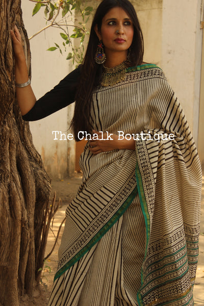 Hand block Printed Dabu Saree in Chanderi Silk SHB-CHN30-C3