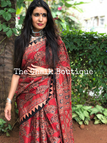 Madder Modal silk vegetable dyed Ajrakh saree.