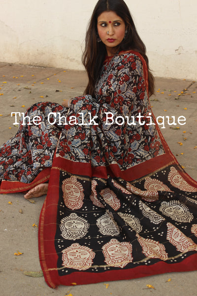 Handblock printed dabu saree in chanderi silk. SHB-CHN-3