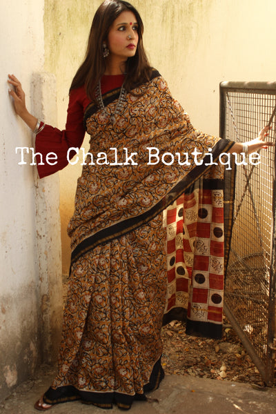 Handblock printed dabu saree in chanderi silk. SHB-CHN-2