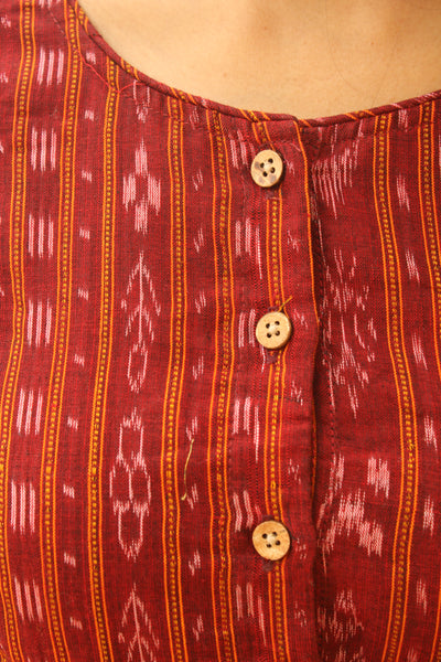 Red Hand Block Print ready to wear cotton Blouse