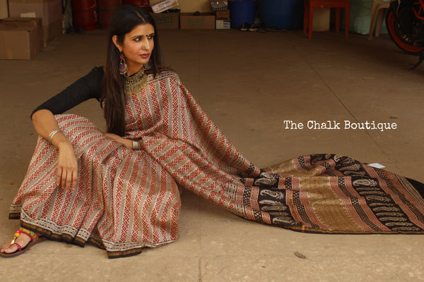 Hand block Printed Dabu Saree in Chanderi Silk SHB-CHN25-C3