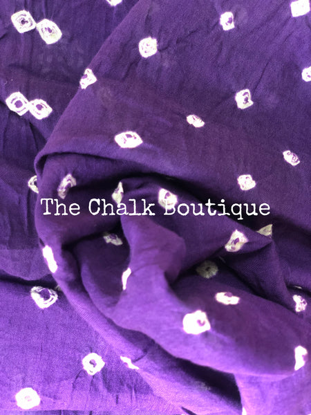 Purple with Indigo vegetable dyed tie and dye ajrakh mul cotton saree .