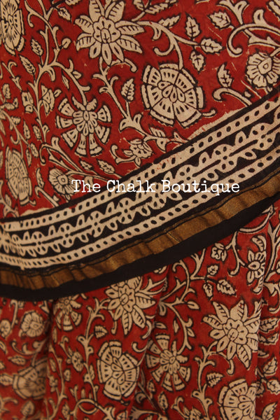 Hand block Printed Dabu Saree in Chanderi Silk SHB-CHN24-C3