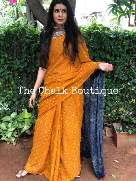 | Tuscan Sun | Mustard with Indigo vegetable dyed tie and dye ajrakh mul cotton saree
