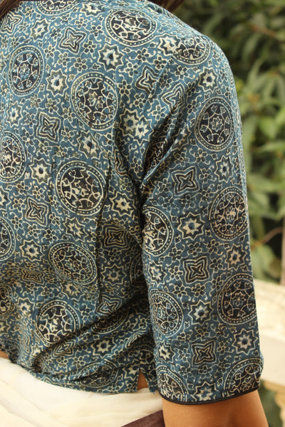 Indigo Hand Block Print ready to wear cotton Blouse .