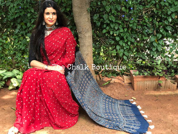 Red with Indigo vegetable dyed tie and dye ajrakh mul cotton saree .