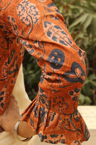 Rust Orange Hand Block Print ready to wear cotton Blouse .