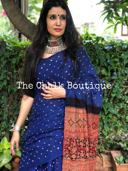 | Saanjh| Blue with Red vegetable dyed tie and dye ajrakh mul cotton saree .
