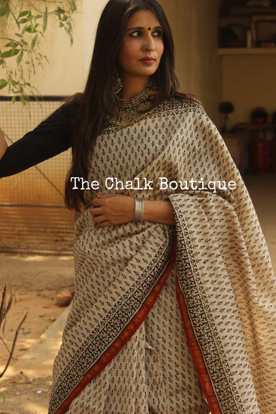 Hand block Printed Dabu Saree in Chanderi Silk SHB-CHN20-C3