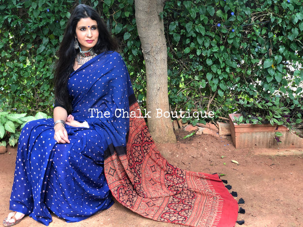 Blue with Red vegetable dyed tie and dye ajrakh mul cotton saree .