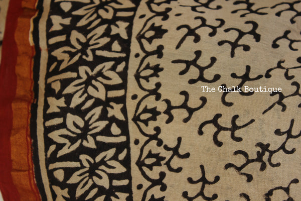 Hand block Printed Bagru Print Saree in Chanderi Silk SHB-CHN20-C3