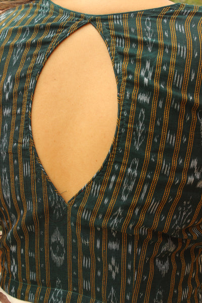 Deep Green Hand Block Print ready to wear cotton Blouse .