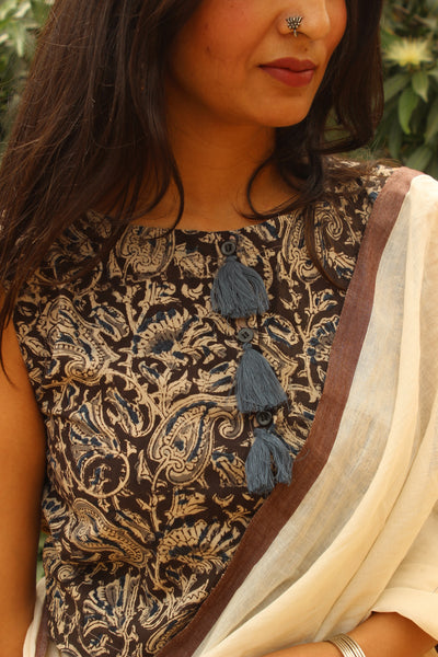 Kalamkari Sleeveless ready to wear cotton Blouse with tassels .CC-SBL6-C4