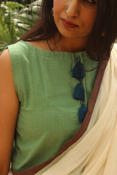 Sleeveless Sea Green ready to wear cotton Blouse with Blue tassels .