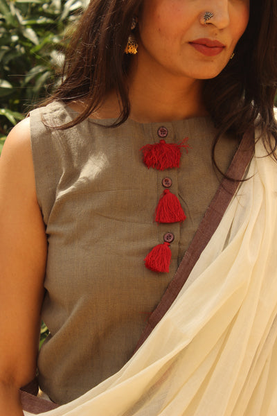 Sleeveless Grey ready to wear cotton Blouse with red tassels .CC-SBL1-C4