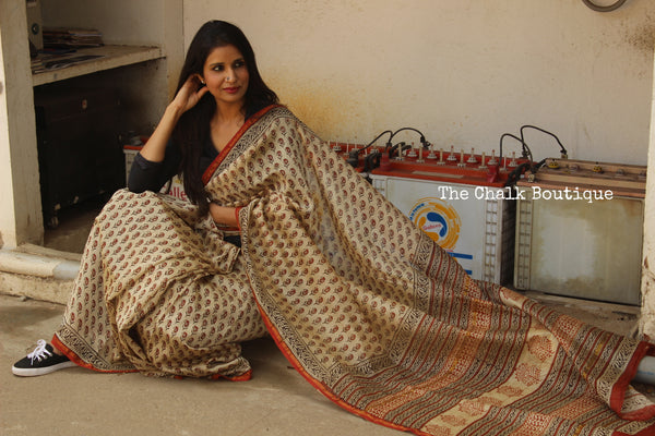 Hand block Printed Dabu Saree in Chanderi Silk SHB-CHN9-C3
