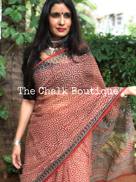 | Bricks | Red Bagru Hand Block Print Floral Kota Doria Saree.