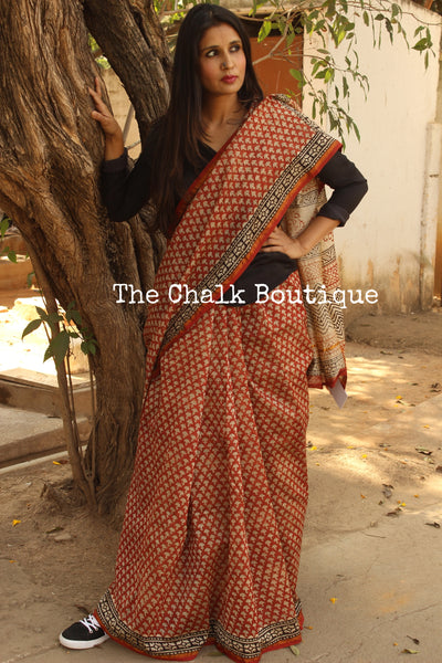 Hand block Printed bagru Saree in Chanderi Silk SHB-CHN3-C3-The Chalk Boutique