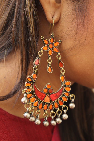 Orange Antique Afghani Earrings With Glass Work CN-FAE-3