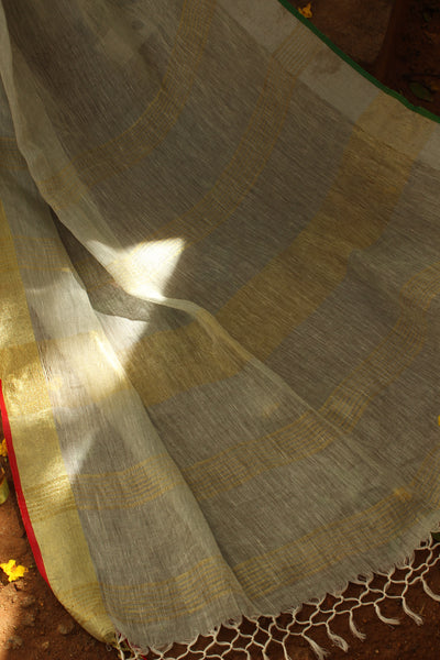 Light Grey linen saree with zari border.NF-LL5-C5-The Chalk Boutique