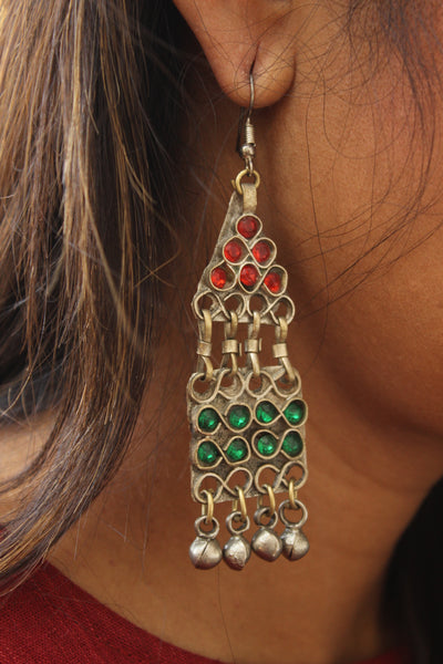 Red and green Antique Afghani Earrings With Glass Work CN-FAE-2