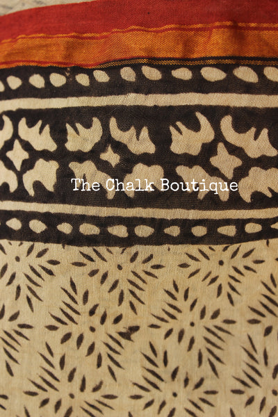Hand block Printed bagru Saree in Chanderi Silk SHB-CHN3-C3