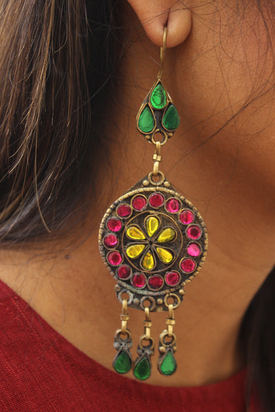 Pink, Yellow and green Antique Afghani Earrings With Glass Work CN-FAE-5