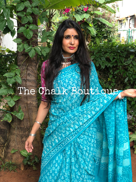 | Pihu | Blue Traditional Dabu Handblock printed Cotton saree.