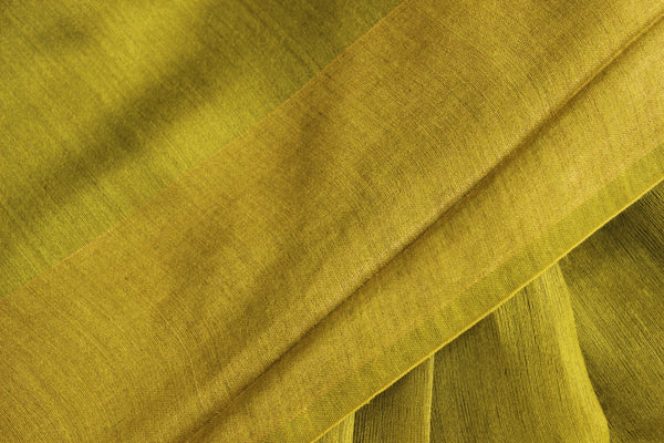 Green Pure muga silk saree with zari border. TCB-MU2-MS1