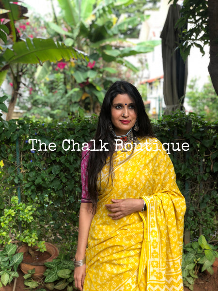 | Palki | Yellow Traditional Dabu Handblock printed Cotton saree.