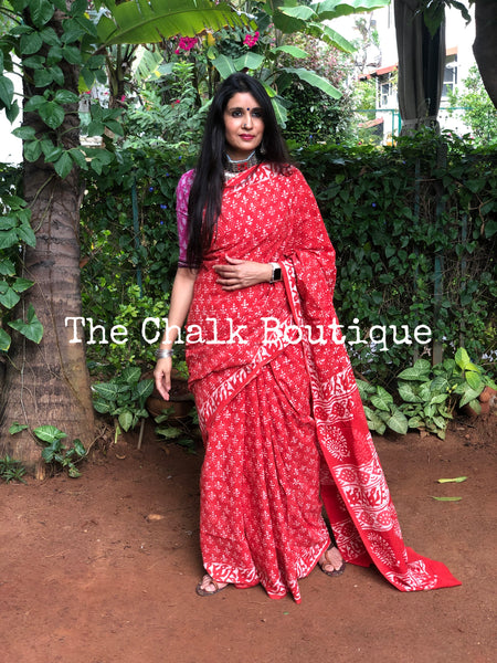 | MANGO BITE | Orange Traditional Dabu Handblock printed Cotton saree.