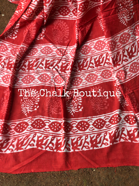 | Piharwa | Orange/Red Traditional Dabu Handblock printed Cotton saree.