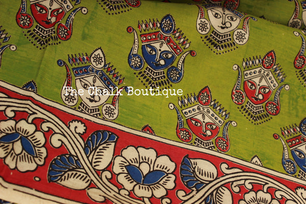 Green 'devi' Hand block printed Overall Kalamkari Saree in cotton silk . TCB-CSLK2-P8